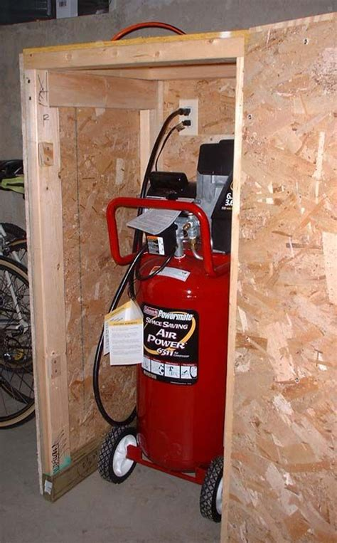 sound suppressing compressor enclosure garage decor