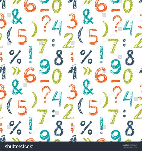 html pattern numbers and letters hand drawn seamless pattern numbers others stock vector