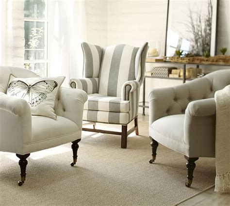 Gray Wingback Chair Design Ideas Thatcher Upholstered Wingback Chair Pottery Barn