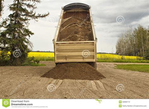 truck trailer unloading gravel stock images image 32896114
