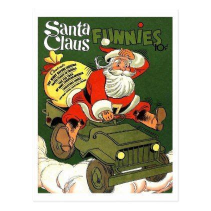 christmas jeep card santa claus drive military jeep vintage holiday postcard