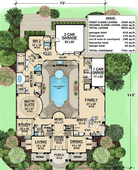 home plans with a courtyard and swimming pool in the center plan 36186tx luxury with central courtyard luxury house