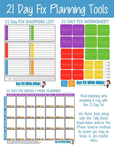 21 day fix meal plan template template design