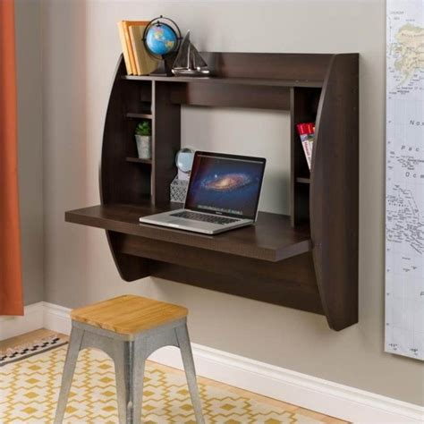 Prepac Floating W Storage Espresso Computer Desk Small Floating Desk