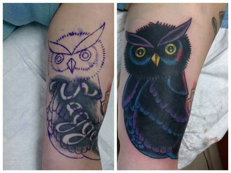 owl cover up tattoos owl cover up by camron tattoos by camron