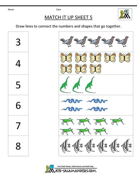 worksheets for preschoolers on numbers math worksheets number matching worksheets kindergarten