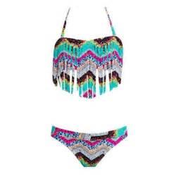 Ownza roxy girls 7 16 sea hippie fringe bandeau swimsuit set photo