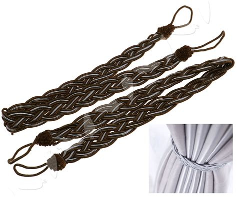 curtain tie backs rope pair of braided satin rope curtain tie backs tiebacks