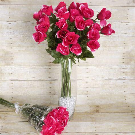 Best Single Stem Flowers Wedding 48 Pcs Long Single Stem Rose Bundles Wedding Silk
