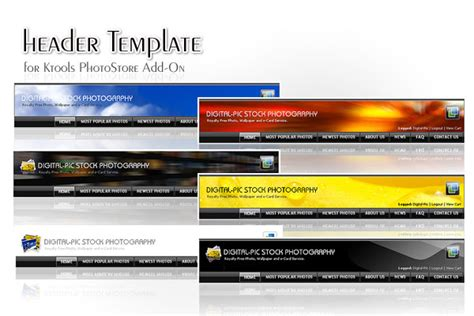 free website header templates add ons for ktools photostore