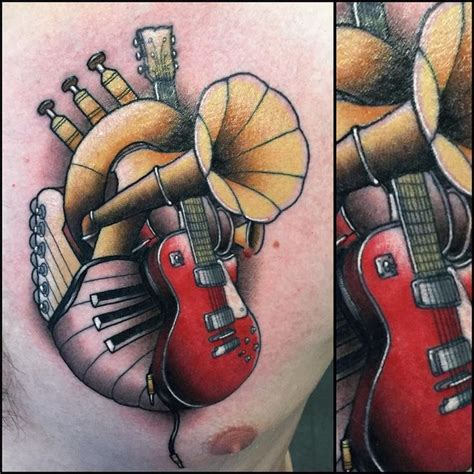 tattooed heart ultimate guitar 35 best instrument heart tattoo images on pinterest