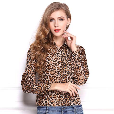 fashion leopard print blouses sleeve turn collar vogue chiffon shirts