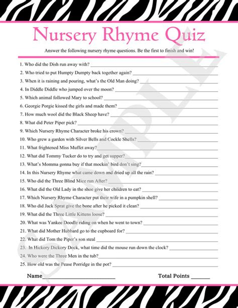 printable quiz for baby shower instant download printable nursery rhyme quiz pink zebra