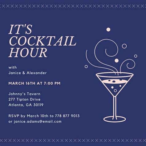 cocktail invitation card template customize 243 happy hour invitation templates canva