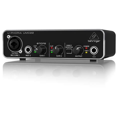 Behringer Audio Interface behringer u phoria umc22 usb audio interface at gear4music