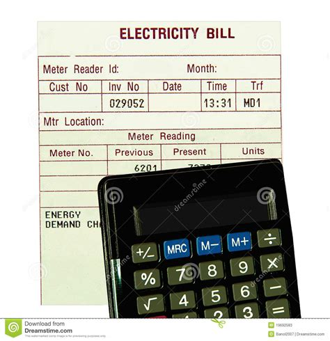 calculate electricity bill electricity bill calculator isolated stock photos
