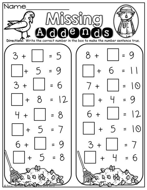 Missing Addend Worksheets by Fall Math And Literacy Packet No Prep 1st Grade