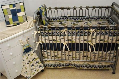 navy and green crib bedding grey navy green and ivory crib bedding with a car print
