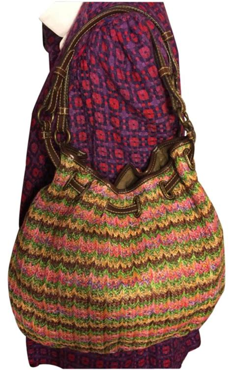 Fossil Hobo Pink Multi fossil large multi color chevron print woven with