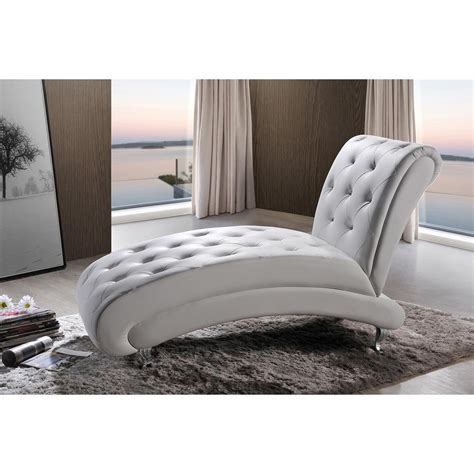 baxton studio chaise baxton studio pease glam white faux leather upholstered