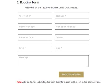 booking form template free sj booking form responsive joomla module
