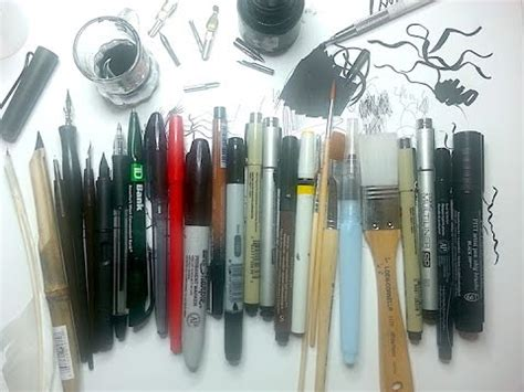 5 Drawing Materials by Pen Ink Drawing Supplies Pt 1 10 Types Of Ink Drawing