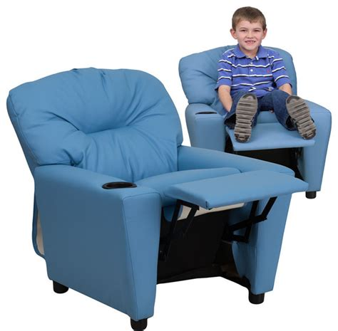 children recliner chair contemporary light blue vinyl kids recliner with cup
