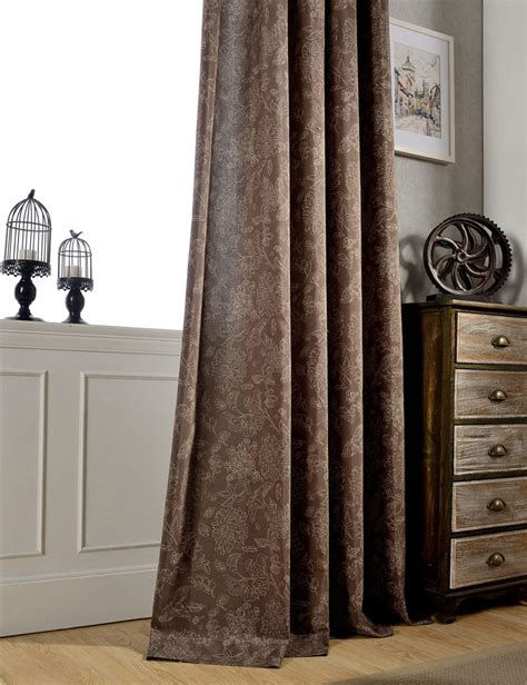 dark brown curtains vintage style curtains flower pattern semi light shading