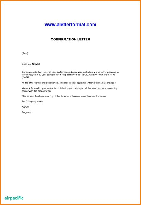 appointment letter format after probation period confirmation letter after probation period doc