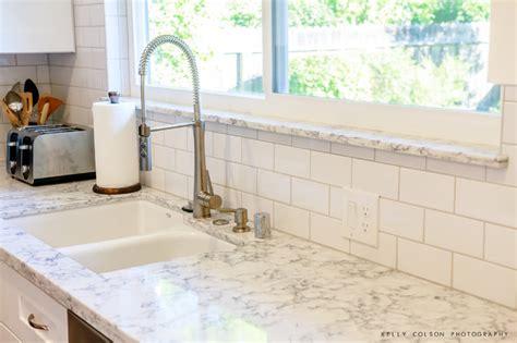 Glossy White Kitchen Cabinets rococo countertop modern kitchen sacramento by