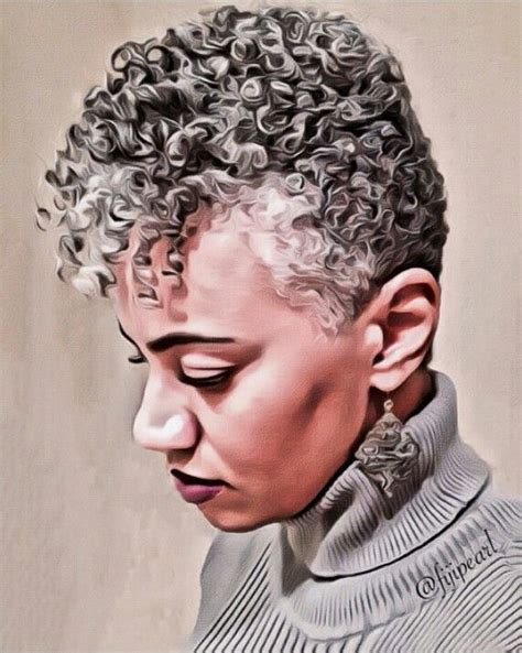 short natural afro gray hair cut tapered cut hairstyle for black women