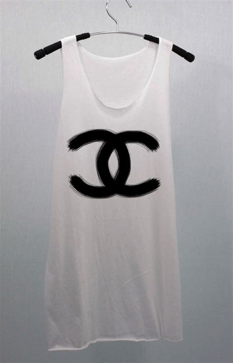 COCO CHANEL brushing painting T Shirts Tank Top Tunic Blouse women handmade silk screen printing