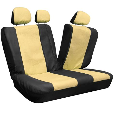 suv seat covers 17pc beige black pu faux leather complete suv seat