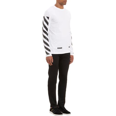 Longsleeve White Brush lyst white c o virgil abloh diagonal stripe sleeve t shirt in white for