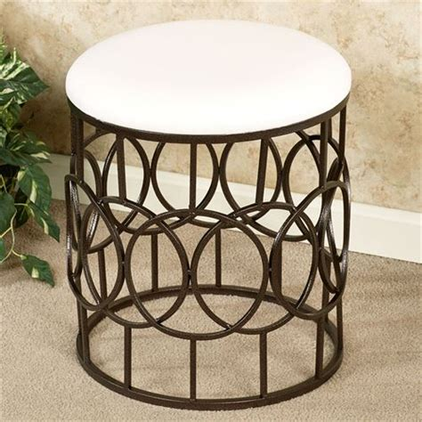 upholstered metal vanity stool