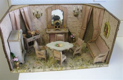 dolls house room boxes antique french miniature dollhouse pale pink parlor furnishings room box ebay