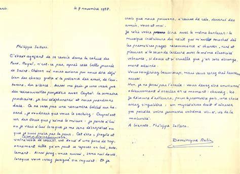 Exemple De Lettre Epistolaire Correspondance Dominique Rolin Sollers 224 La Biblioth 232 Que Royale De Philippe Sollers