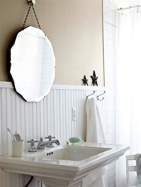 beadboard mirror beadboard backsplash cottage bathroom bhg