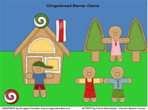 printable barrier games carrie s speech corner gingerbread speech and language unit