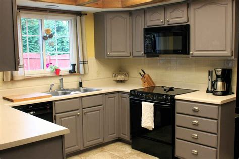 Kitchen Cabinets For Small Kitchen Grey Painted Kitchen Cabinets In Small Kitchen Space