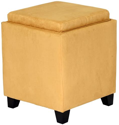 Rainbow Yellow Microfiber Storage Ottoman From Armen Microfiber Storage Ottoman