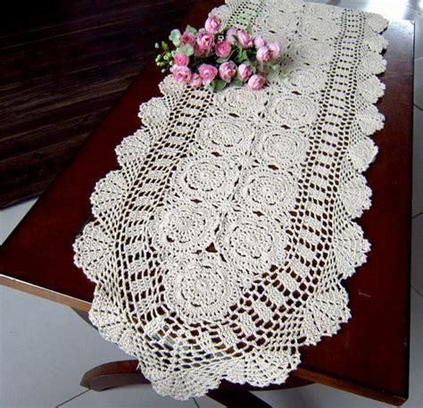 crochet table runner 40x190cm 16x75 by tableclothshop on etsy