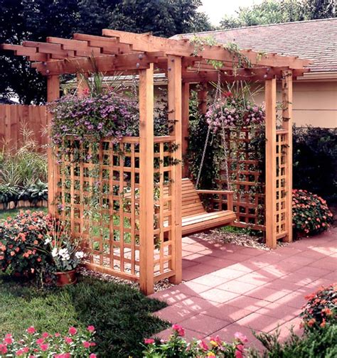 backyard arbor garden arbor getaway woodworking plan from wood magazine