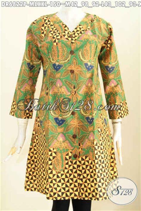 Baju Batik Dress Terusan Wanita Motif Daun Katun Cap Malam Etnik baju batik wanita terusan dress batik model kerah v motif
