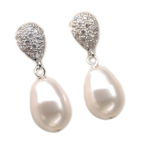 Pearl Earring teardrop stud earrings pearl dangle earrings drop pearl post