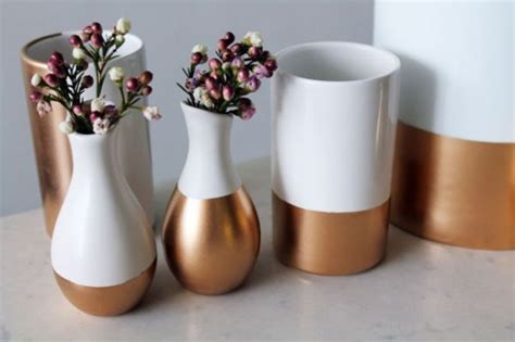Spray Paint Ceramic Vase by Diy Gold Dipped Home Accessories And Decorations