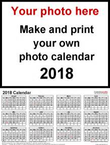 Calendar 2018 Maker Photo Calendar 2018 Free Printable Word Templates