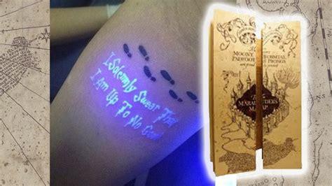 glow in the dark tattoo harry potter this secret marauder s map tattoo will send potter fans
