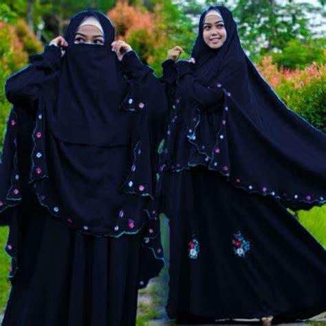 Baju Muslim Gaun Batik Syari Navy setelan gamis syari modern cantik setelan baju gamis
