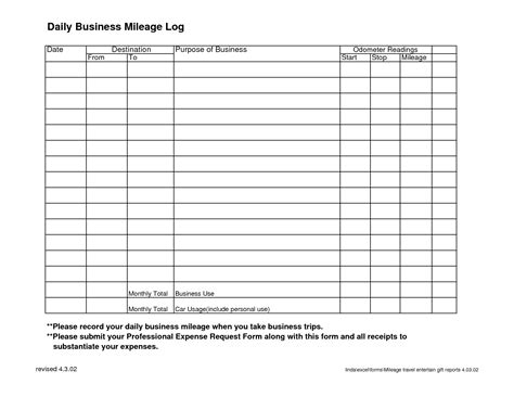 mileage report template 9 best images of daily business expense sheet printable